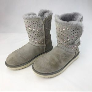 UGG Bailey Button Tehuano Grey Pencil Lead Boots